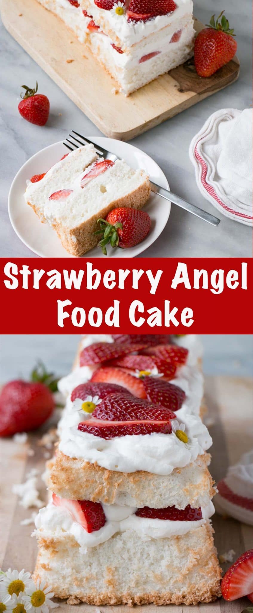 Strawberry Angel Food Cake Long Pin