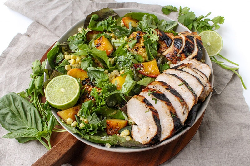 Honey Lime Grilled Chicken with Grilled Peach and Corn Salad