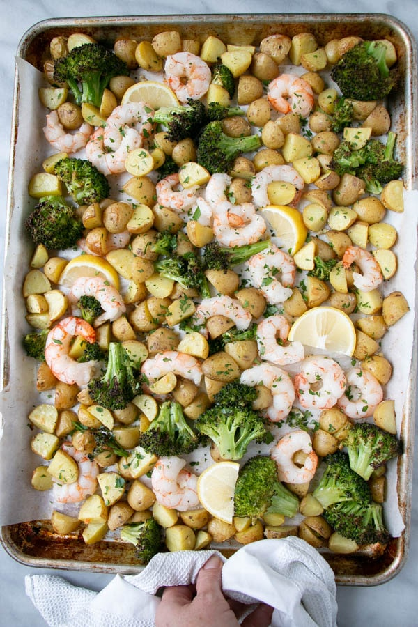Sheet Pan Shrimp and Potatoes on a baking tray