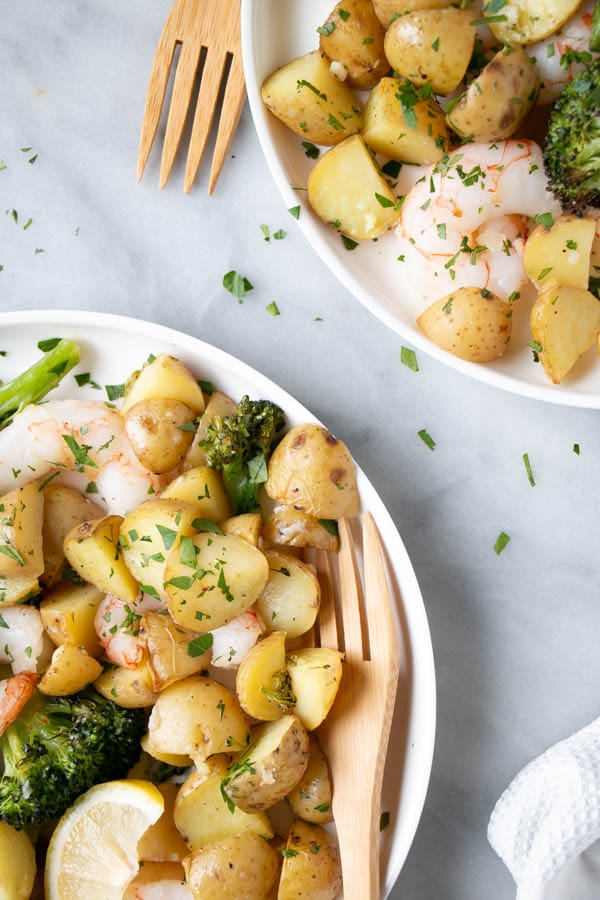 Sheet Pan Shrimp and Potatoes with a bright white background.
