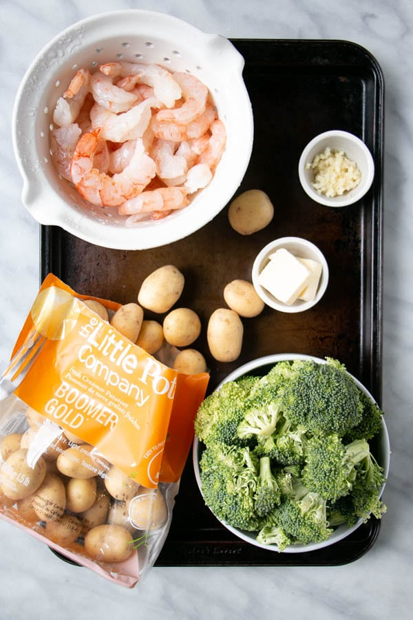 Ingredient prep of Shrimp, Potatoes and Broccoli