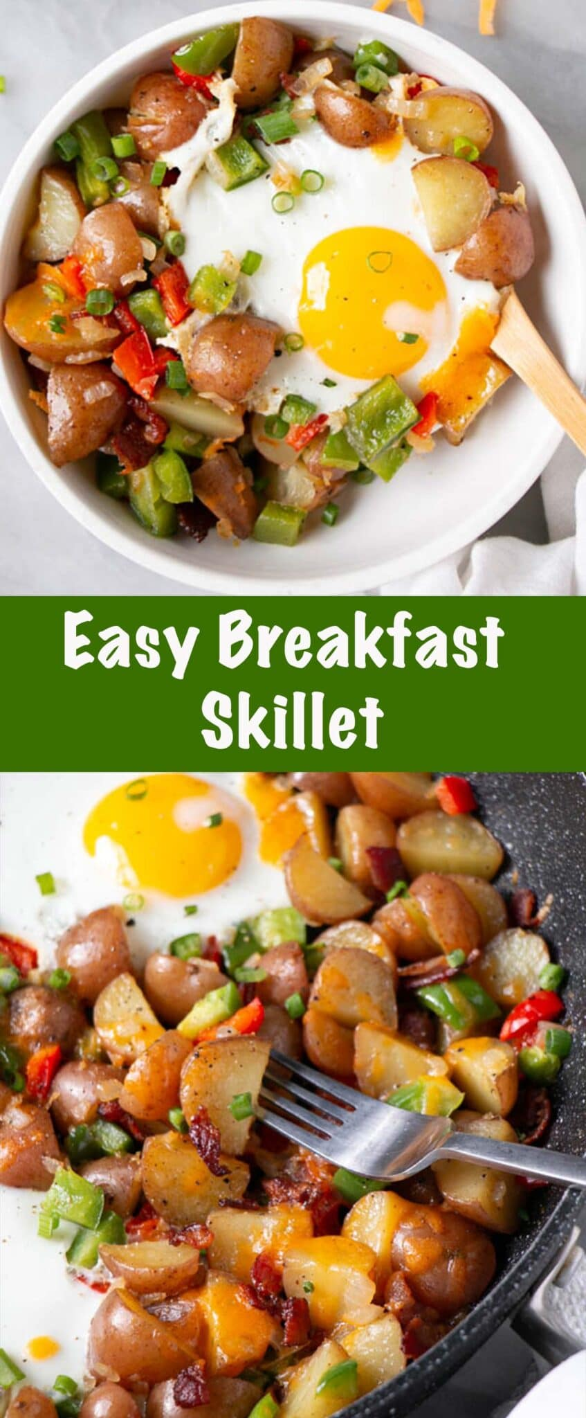 Easy Skillet Breakfast Potatoes with Eggs Long Pin
