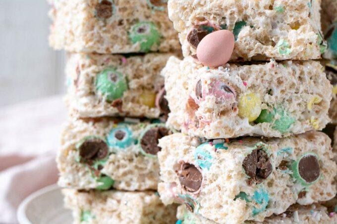 Easter Rice Krispies treats with chocolate Mini Eggs in pastel colours.