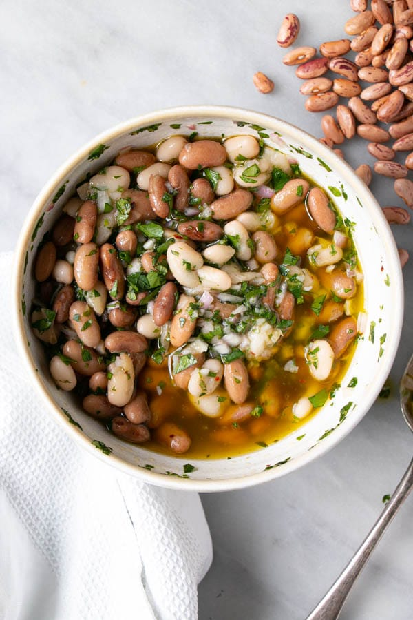 Marinated Beans with dried pinto beans on the side.