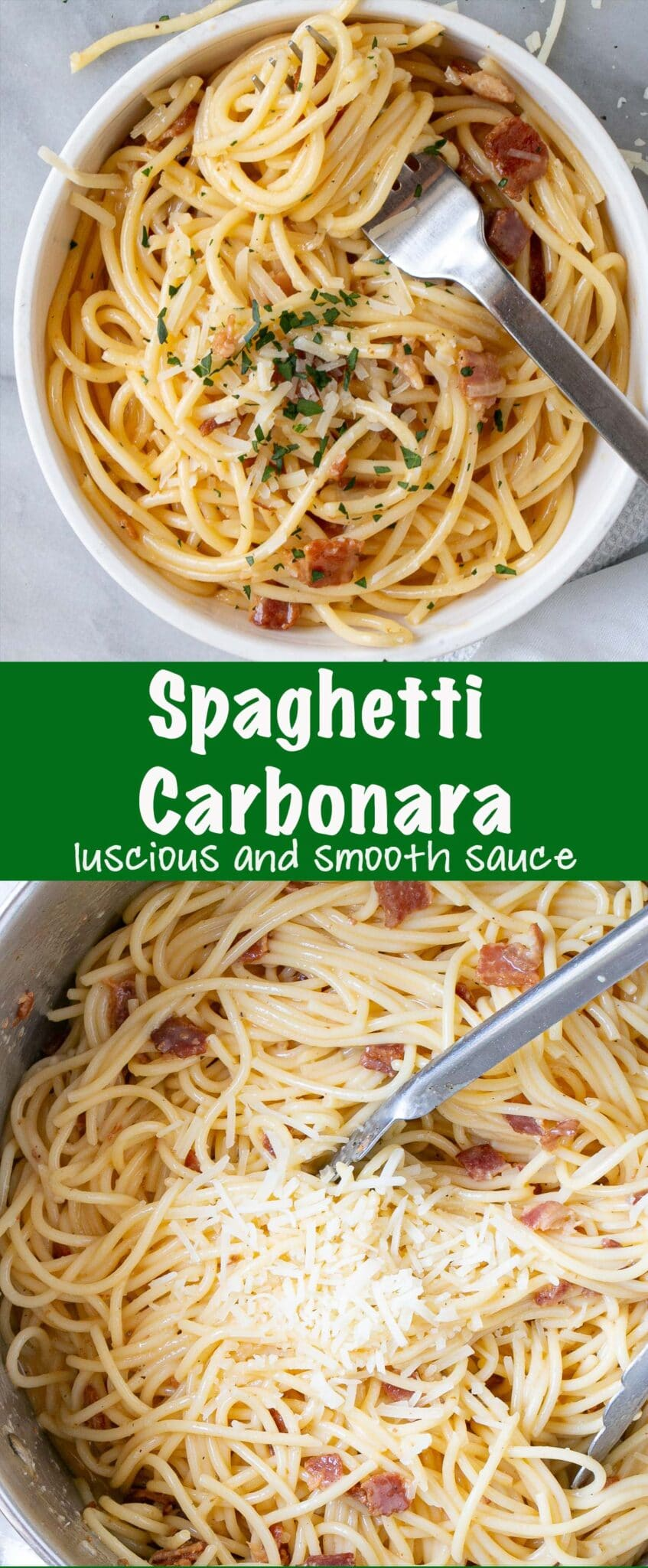 Silky smooth with melted parmesan cheese Spaghetti Carbonara recipe. This Carbonara recipe is perfect for a comfort food weeknight meal as it comes together quickly with pantry staples. {AD} via @mykitchenlove