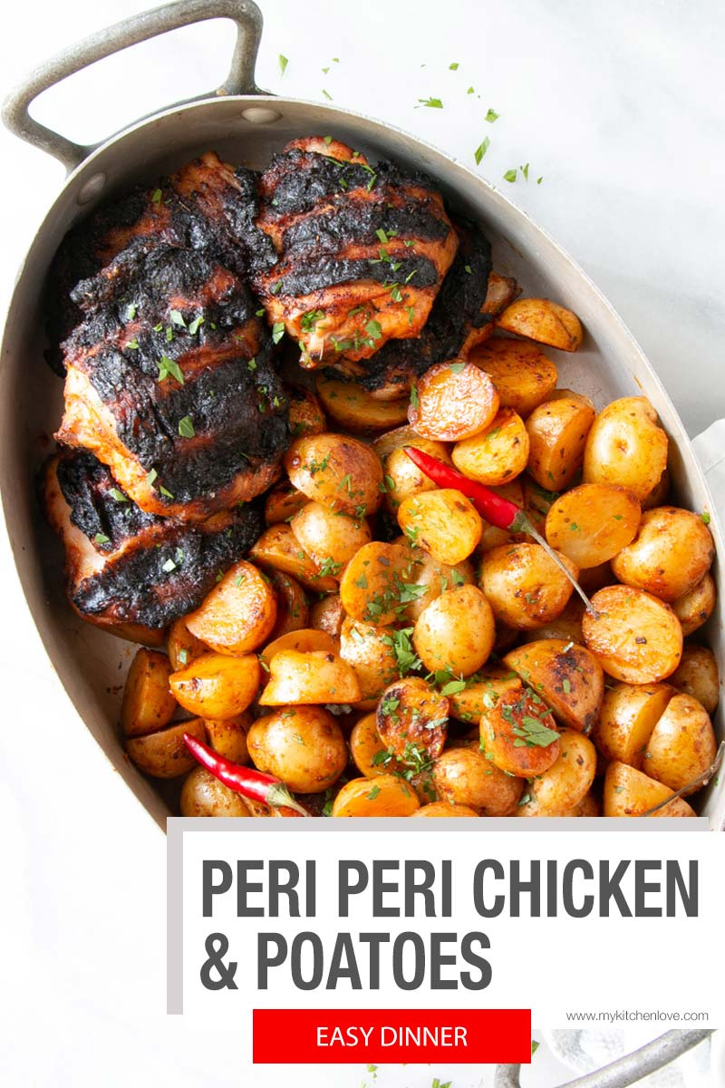 Juicy chicken and roasted potatoes that taste so DELISH! Smokey, yet balanced Peri Peri marinade take this easy grilling recipe to another level. #ad #dinner @littlepotatoco via @mykitchenlove
